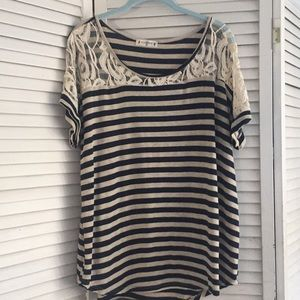 Agenda striped top with lace detail